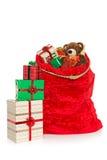 Σάκος Χριστουγέννων που απομονώνεται στο λευκό Στοκ Εικόνες