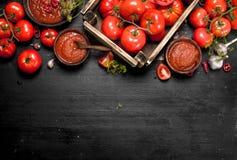 Σάλτσα ντοματών με τα καρυκεύματα, το καυτά πιπέρι και το σκόρδο Στοκ Εικόνες