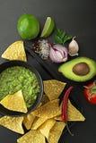 Σάλτσα Guacamole με τα nachos στοκ εικόνες με δικαίωμα ελεύθερης χρήσης