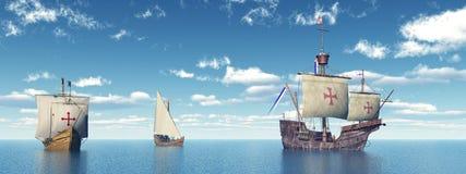 Σάντα Μαρία, Νίνα και Pinta του Christopher Columbus Στοκ Εικόνα