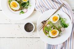 Σάντουιτς αυγών αβοκάντο με ολόκληρο το ψωμί σιταριού στο άσπρο ξύλινο υπόβαθρο στοκ φωτογραφία με δικαίωμα ελεύθερης χρήσης