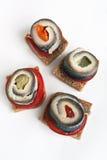 Σάντουιτς καναπεδάκια με τα ψάρια Στοκ εικόνα με δικαίωμα ελεύθερης χρήσης