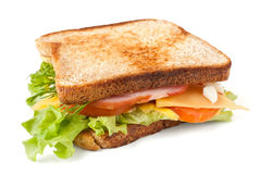 Σάντουιτς κρέατος, μαρουλιού, τυριών και αυγών στοκ εικόνες