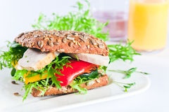 Σάντουιτς με τα ψημένα στη σχάρα λαχανικά και το κοτόπουλο Στοκ φωτογραφία με δικαίωμα ελεύθερης χρήσης