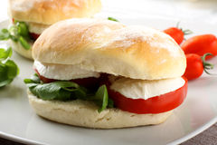 Σάντουιτς με τη μοτσαρέλα, την ντομάτα και το μαρούλι Στοκ φωτογραφία με δικαίωμα ελεύθερης χρήσης