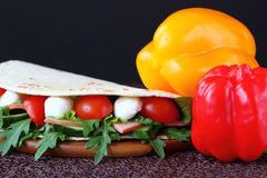 Σάντουιτς με τη μοτσαρέλα και τα φρέσκα λαχανικά Στοκ Εικόνες