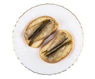 Σάντουιτς με τις κονσερβοποιημένες κλυπέες στο πιάτο που απομονώνεται στο άσπρο backgro Στοκ φωτογραφία με δικαίωμα ελεύθερης χρήσης