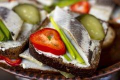 Σάντουιτς με τις ρέγγες, το αγγούρι, το κρεμμύδι και το πιπέρι Στοκ Εικόνα