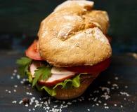 Σάντουιτς με το ζαμπόν και τα λαχανικά στοκ εικόνες με δικαίωμα ελεύθερης χρήσης