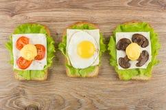 Σάντουιτς με το μαρούλι, το τυρί, τα μανιτάρια, την ντομάτα και το τηγανισμένο αυγό Στοκ Εικόνες