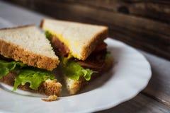 Σάντουιτς με το μπέϊκον και σαλάτα σε ένα ξύλινο υπόβαθρο στοκ εικόνα με δικαίωμα ελεύθερης χρήσης