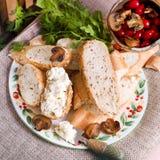Σάντουιτς με το τυρί και τα μανιτάρια στάρπης Στοκ Φωτογραφία