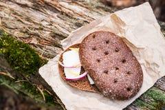 Σάντουιτς με το χοιρινό κρέας μπέϊκον στο δάσος Στοκ φωτογραφία με δικαίωμα ελεύθερης χρήσης