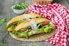 Σάντουιτς με το ψημένα κρέας και τα λαχανικά Στοκ Εικόνες