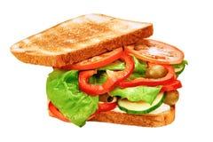 Σάντουιτς με το ψημένα ψωμί και τα φρέσκα λαχανικά Στοκ Εικόνα