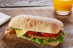 Σάντουιτς με το ψημένο στη σχάρα τυρί μπέϊκον ντοματών κοτόπουλου Στοκ εικόνα με δικαίωμα ελεύθερης χρήσης