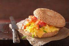 Σάντουιτς προγευμάτων bagel με το τυρί μπέϊκον αυγών Στοκ Εικόνες