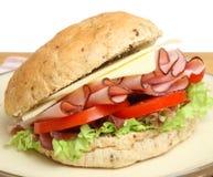 Σάντουιτς ρόλων ζαμπόν & τυριών Στοκ Εικόνα