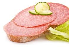 σάντουιτς σαλαμιού Στοκ Εικόνες