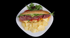 Σάντουιτς σαλαμιού Στοκ Φωτογραφίες