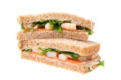 Σάντουιτς σολομών και γαρίδων Στοκ εικόνα με δικαίωμα ελεύθερης χρήσης