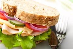 Σάντουιτς της Τουρκίας και τυριών Στοκ φωτογραφία με δικαίωμα ελεύθερης χρήσης