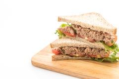 σάντουιτς τόνου στο λευκό Στοκ Εικόνες