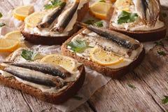 Σάντουιτς ψαριών με το τυρί κρέμας και την κινηματογράφηση σε πρώτο πλάνο λεμονιών οριζόντιος Στοκ Εικόνα