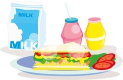 Σάντουιτς BLT με το γάλα και το χυμό Στοκ φωτογραφία με δικαίωμα ελεύθερης χρήσης