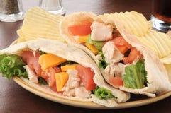 Σάντουιτς pita κοτόπουλου με τα τσιπ στοκ εικόνες με δικαίωμα ελεύθερης χρήσης