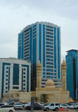 Σάρτζα, Ηνωμένα Αραβικά Εμιράτα: Μουσουλμανικό τέμενος Al Ekhlas, Al Khan Στοκ Εικόνες