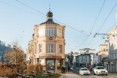 Σάλτζμπουργκ, Αυστρία, την 1η Ιανουαρίου 2017: Η τράπεζα Spaengler είναι η παλαιότερη ιδιωτική τράπεζα στην Αυστρία που ιδρύεται  Στοκ Εικόνα