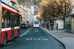 Σάλτζμπουργκ, Αυστρία, την 1η Ιανουαρίου 2017: Καθημερινή ζωή στην πόλη του Σάλτζμπουργκ Το τέταρτο - μεγαλύτερη πόλη στην Αυστρί Στοκ φωτογραφία με δικαίωμα ελεύθερης χρήσης