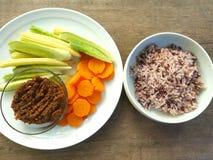 Σάλτσα και ρύζι τσίλι Στοκ Φωτογραφίες