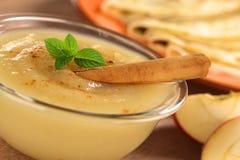 Σάλτσα μήλων με την κανέλα Στοκ Εικόνες