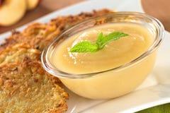 Σάλτσα μήλων με Fritters πατατών Στοκ Εικόνες