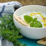 Σάλτσα με το γιαούρτι και αγγούρι για τον εκκινητή Στοκ Εικόνες