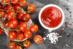 Σάλτσα ντοματών στις άσπρες ντομάτες κύπελλων, καρυκευμάτων και κερασιών σε ένα σκοτάδι Στοκ φωτογραφία με δικαίωμα ελεύθερης χρήσης