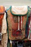 σέλες νομάδων της Μογγολίας αλόγων στοκ εικόνες