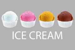 Σέσουλες παγωτού στα άσπρα φλυτζάνια της σοκολάτας, φράουλα, γαλλική βανίλια, πορτοκαλιές γεύσεις που απομονώνονται στο διάνυσμα  Στοκ Φωτογραφία