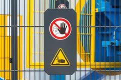 Σήμανση ασφάλειας στη μηχανή Στοκ εικόνες με δικαίωμα ελεύθερης χρήσης