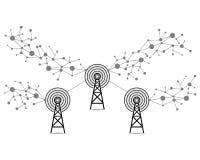 Σήματα Διαδικτύου, διάνυσμα τεχνολογίας επικοινωνιών Στοκ Εικόνες
