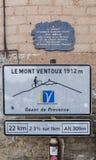 Σήμα οδικής ανακύκλωσης Ventoux Mont στοκ εικόνες με δικαίωμα ελεύθερης χρήσης