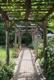 Σήραγγα φιαγμένη από κλάδους δέντρων και δρόμο πετρών σε έναν κήπο στοκ εικόνα