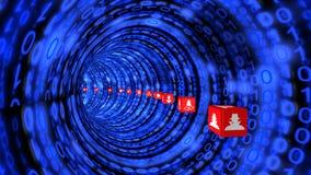 Σήραγγα Cybersecurity στο μπλε Στοκ Εικόνα