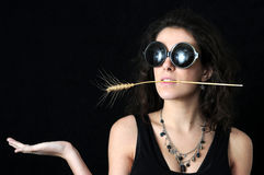 σίτος γυαλιών brunette Στοκ Φωτογραφίες