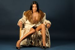 Σαγηνευτική γυναίκα στις γούνες Στοκ φωτογραφία με δικαίωμα ελεύθερης χρήσης