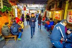 ΣΑΓΚΆΗ, ΚΙΝΑ - 29 ΙΑΝΟΥΑΡΊΟΥ 2017: Περπατώντας γύρω από τη γαλλική περιοχή παραχώρησης της Σαγκάη, δημοφιλής προορισμός για στοκ φωτογραφία
