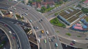 ΣΑΓΚΆΗ, ΚΙΝΑ - 5 ΜΑΐΟΥ 2017: Εναέρια άποψη της σύνδεσης εθνικών οδών γεφυρών Nanpu, σύγχρονη αρχιτεκτονική απόθεμα βίντεο
