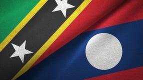 Σαιντ Κιτς και Νέβις και Λάος δύο υφαντικό ύφασμα σημαιών ελεύθερη απεικόνιση δικαιώματος